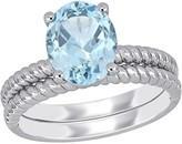 Stella Grace 14k White Gold Aquamarine Bridal Ring Set