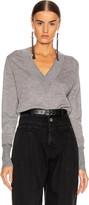 Veronica Beard Tatiana V-Neck Pullover Sweater in Grey Melange   FWRD