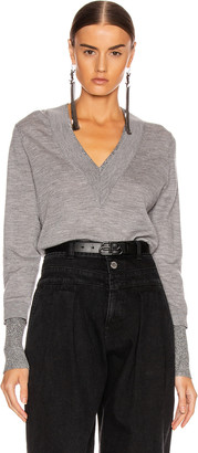 Veronica Beard Tatiana V-Neck Pullover Sweater in Grey Melange | FWRD