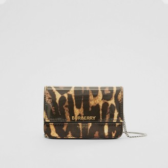 Burberry Leopard Print Leather Card Case with Chain Strap