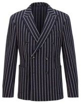 HUGO BOSS - Double Breasted Slim Fit Jacket In A Cotton Blend - Dark Blue