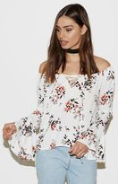 KENDALL + KYLIE Kendall & Kylie Lace-Up Off-The-Shoulder Top