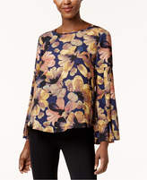 Cable & Gauge Gathered Bell-Sleeve Blouse