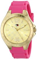 Tommy Hilfiger Women's 1781387 Gold-Tone Watch with Pink Silicone Band