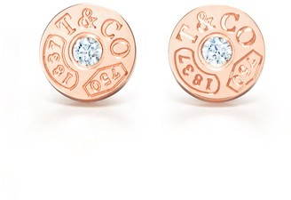 Tiffany & Co. 1837TM circle earrings in 18k rose gold with diamonds