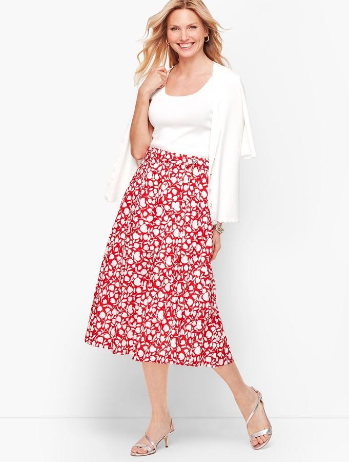 Talbots Pleated Floral Midi Skirt