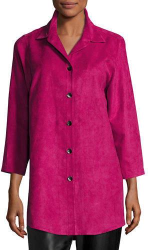 Caroline Rose Modern Faux-Suede Long Shirt