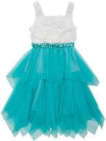 Rare Editions Sleeveless Ballerina Dress with Embellished Waist - Girls 7-16