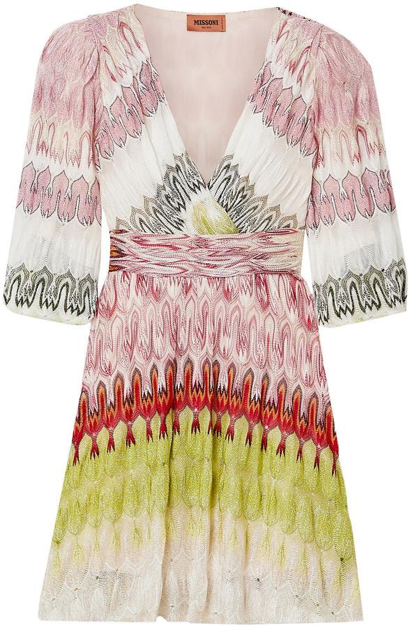 Missoni Wrap-effect Metallic Crochet-knit Mini Dress