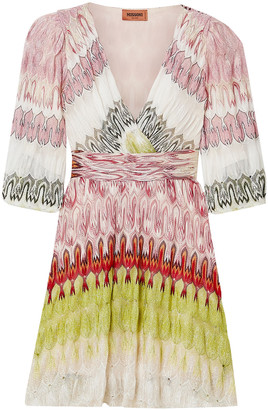Missoni Wrap-effect Metallic Crochet-knit Mini Dress