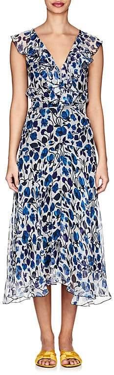 Saloni Women's Rita Forget-Me-Not-Print Silk Midi-Dress