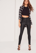 Missguided High Waisted Coated Skinny Jeans Black