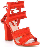 GUESS Econi Suede Fringe Detail Lace-Up Back Block Heel Dress Sandals