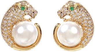Amrita Singh Leopard Cz & Pearl Earrings