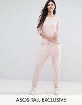 ASOS Tall ASOS TALL LOUNGE Jumpsuit With Long Sleeve And Tie Waist
