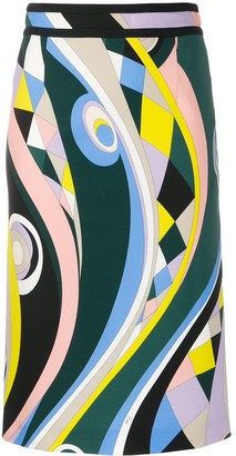 Emilio Pucci Abstract Print Pencil Skirt