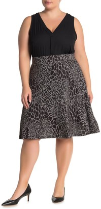 Leota Geometric Print Knee-Length Circle Skirt