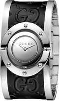 Gucci Women's Swiss Twirl Stainless Steel and Black Leather Bangle Bracelet Watch 24mm YA112441