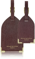 Aspinal of London Set of 2 Burgundy Saffiano Luggage Tags