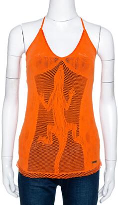 Just Cavalli Orange Tricot Mesh Lizard Motif Halter Top (Free Size)