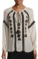 Figue Tasmeen Embroidered Silk Top