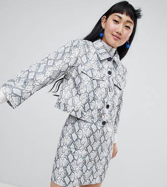 Monki faux leather snake print jacket in grey