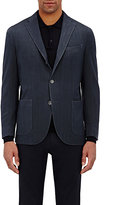 Boglioli Men's Herringbone Travel Jacket-NAVY