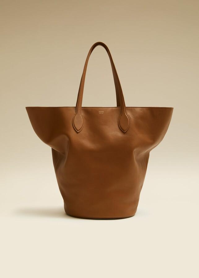 KHAITE The Medium Circle Tote in Caramel Leather