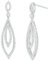 Zales 3/4 CT. T.W. Diamond Double Open Marquise Drop Earrings in 10K White Gold