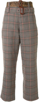 R 13 Plaid Patterned Double Belted Trousers
