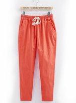 Zhuhaixmy Women's Cotton Linen Soft Elastic Pure Colors Pants Casual Loose Trousers
