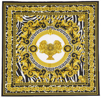 Versace Off-White and Black Baroque Scarf