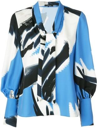 Natori Printed Tie Blouse