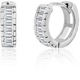 Bliss Cubic Zirconia & Sterling Silver Channel-Set Huggie Earrings