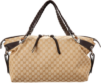 Gucci Brown Gg Canvas & Leather Bamboo Bar Tote