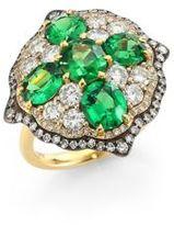 Ivy Rose-Cut Diamond & Green Tsavorite Ring