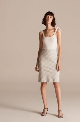 Rebecca Taylor Tailored Slub Linen Plaid Skirt