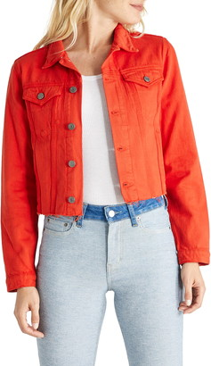 ÉTICA Lennox Raw Hem Crop Denim Trucker Jacket