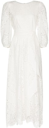 Borgo de Nor Constance lace-trim broderie anglaise midi dress