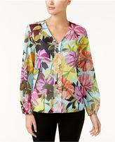 Trina Turk V-Neck Floral-Print Blouse
