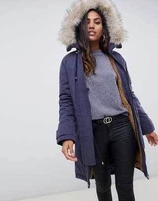 Asos Design DESIGN luxe parka with faux fur trim-Navy