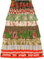 Gucci Patchwork print silk skirt