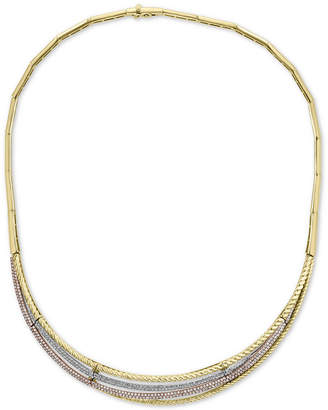 """Effy Diamond Tri-Color 16"""" Statement Necklace (2 ct. t.w.) in 14k Gold, 14k White Gold and 14k Rose Gold"""