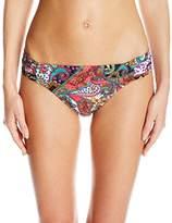 Kenneth Cole Reaction Women's Gypsy Gem Paisley Tab Bikini Bottom with Side Shirring
