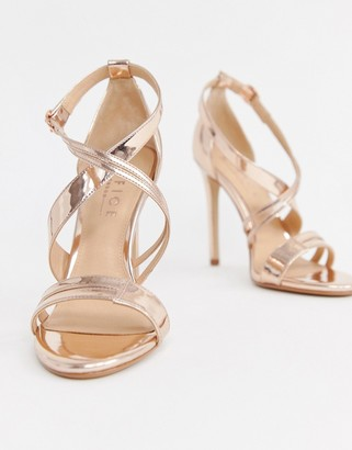 Office Hagan rose gold strappy heeled sandals