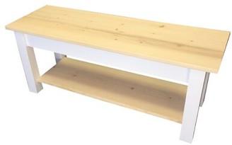 "Highland Dunes Jarrard Wood Bench with Shelf Size: 17"" H x 24"" W x 12"" D"