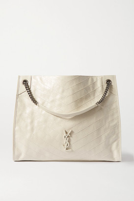 Saint Laurent Niki Large Quilted Crinkled Glossed-leather Tote - White