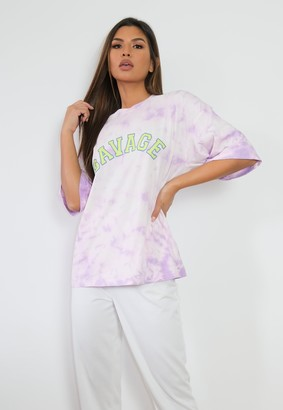 Missguided Lilac Co Ord Savage Tie Dye Oversized T Shirt
