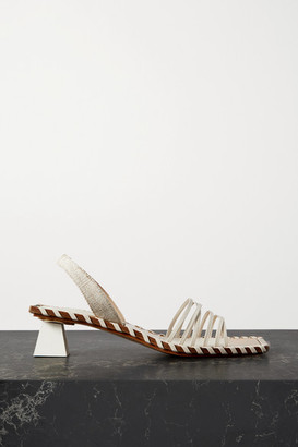 Jacquemus Valerie Leather And Canvas Slingback Sandals - Off-white