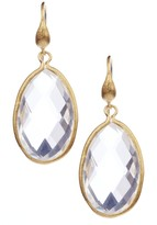 Rivka Friedman 18K Gold Clad Rock Crystal Teardrop Dangle Earrings